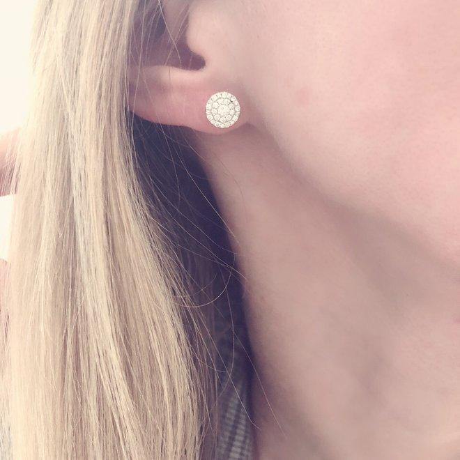Diamond cluster stud earrings - white gold
