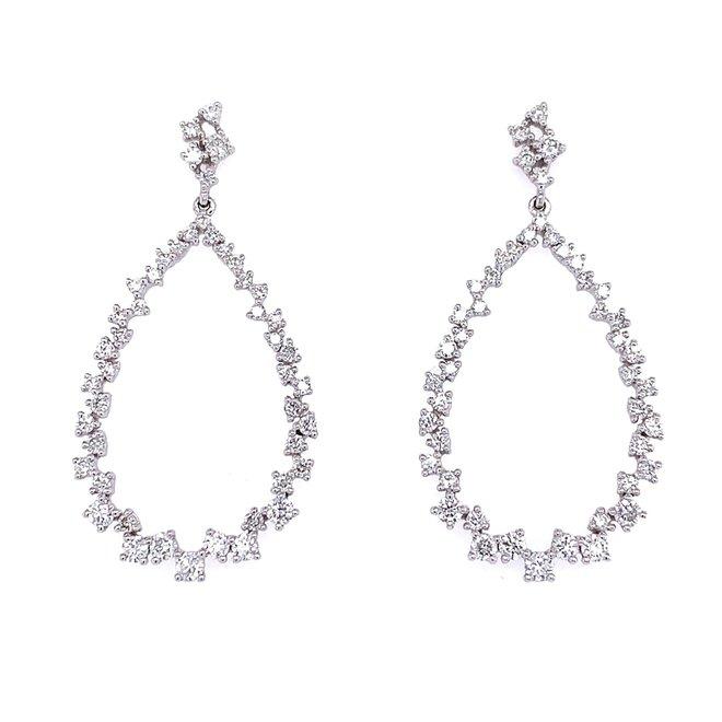 Elegant multi size diamond drop earrings