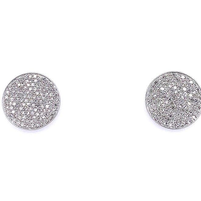 Diamond Disc Stud Earrings