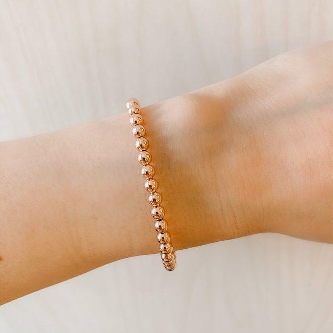 Sterling silver beaded bracelet - rose
