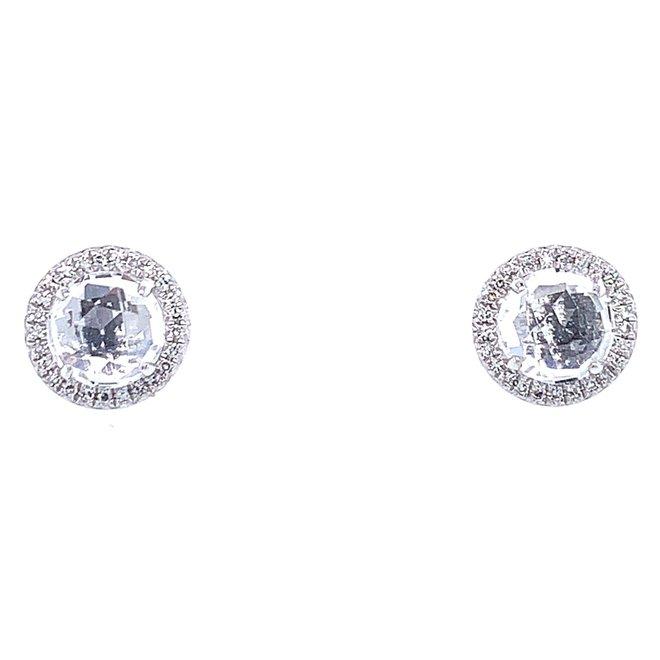 White Topaz And Diamond Earrings