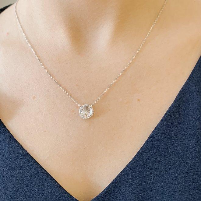 White topaz and diamond pendant