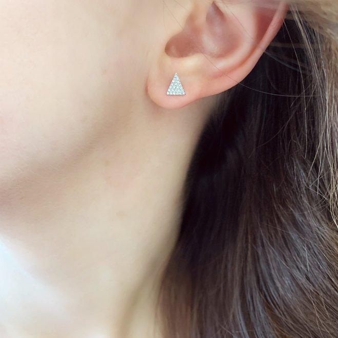 Triangle shaped diamond studs-white gold