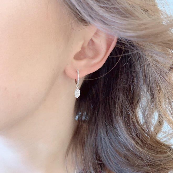 Oval diamond cluster drop earrings