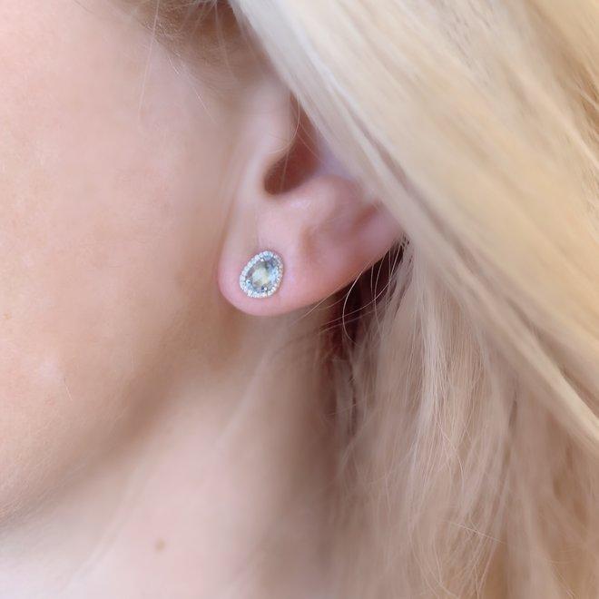 Blue Topaz And Diamond Halo Stud Earrings