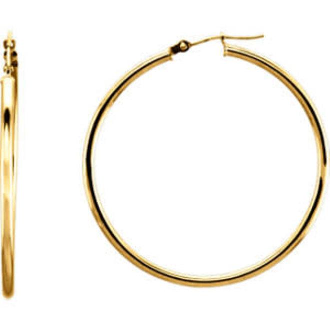 Classic Gold Hoop Earrings - 40mm