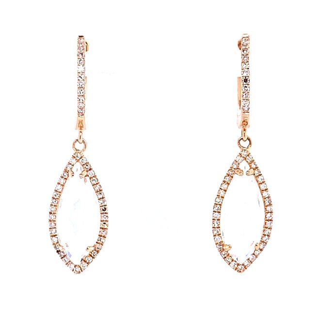 White topaz and diamond drop earrings-rose gold