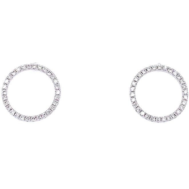 Open Circle Diamond Stud Earrings