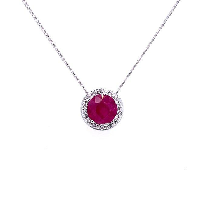 Ruby and diamond halo pendant
