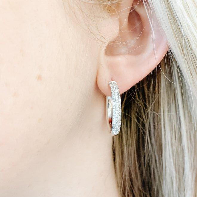 Elegant Diamond Honeycomb Hoop Earrings