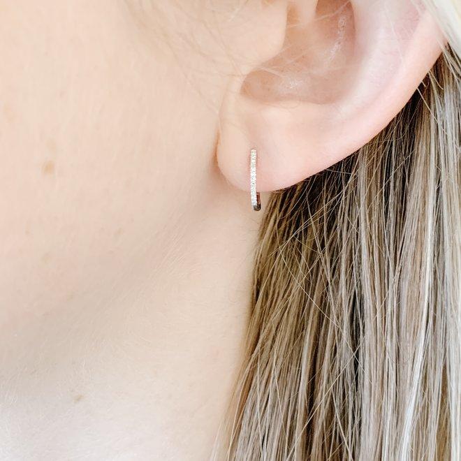 Diamond Huggie Earrings-white gold