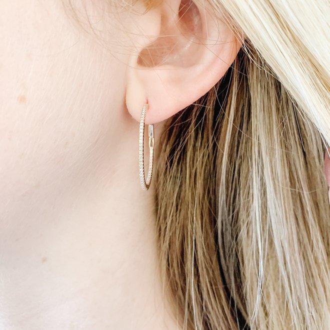 Rose Gold Diamond Hoop Earrings