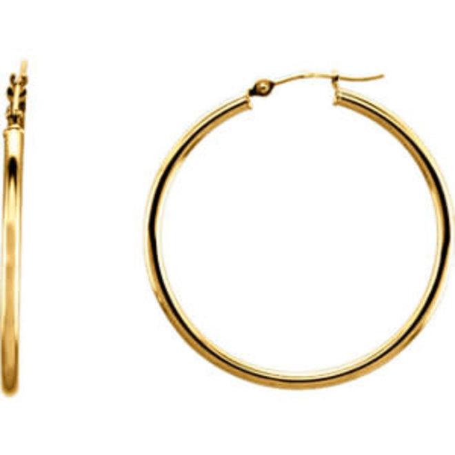 Classic gold hoop earrings - 34mm