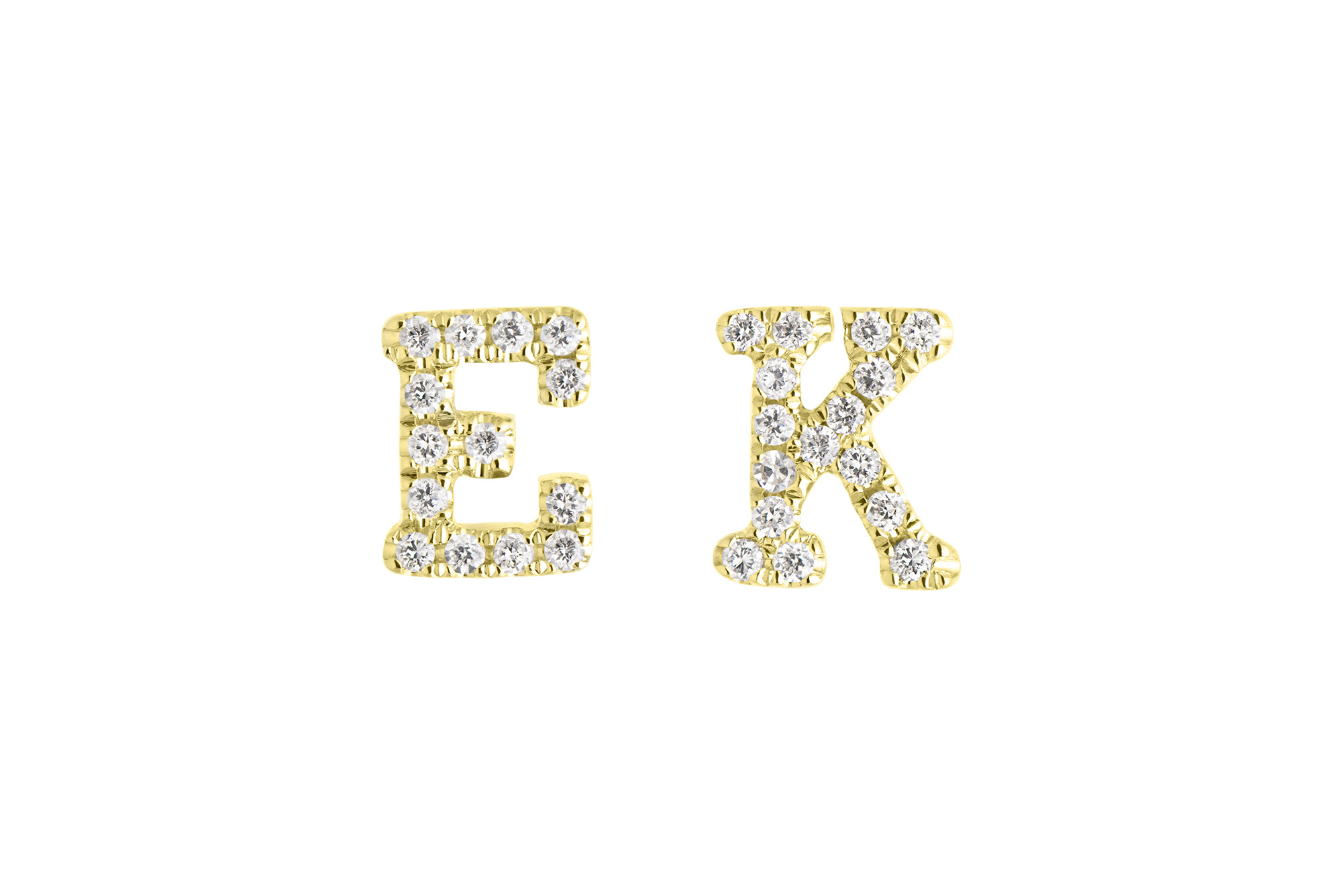 14K Yellow Gold Diamond C Initial Letter Personalized Micro-set Single Earring Stud