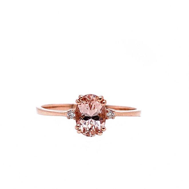 Oval cut morganite and diamond trinity ring