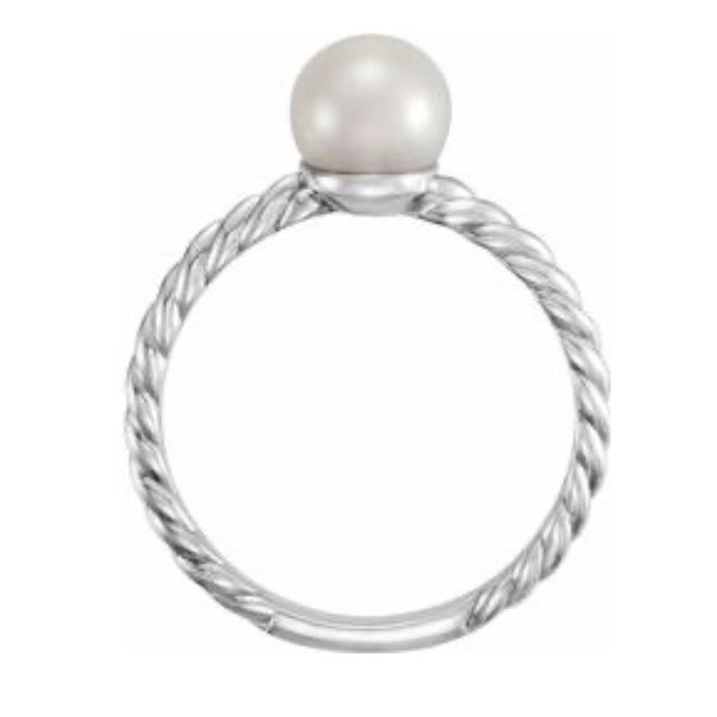 Twisted Rope Pearl Ring