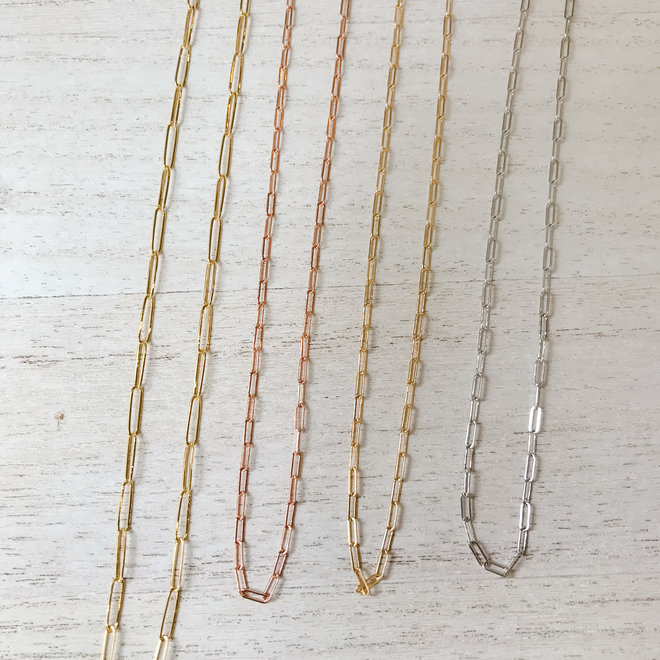 Petite Cable link necklace - white