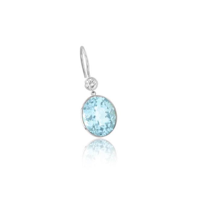 Blue topaz and diamond drop earrings - oval