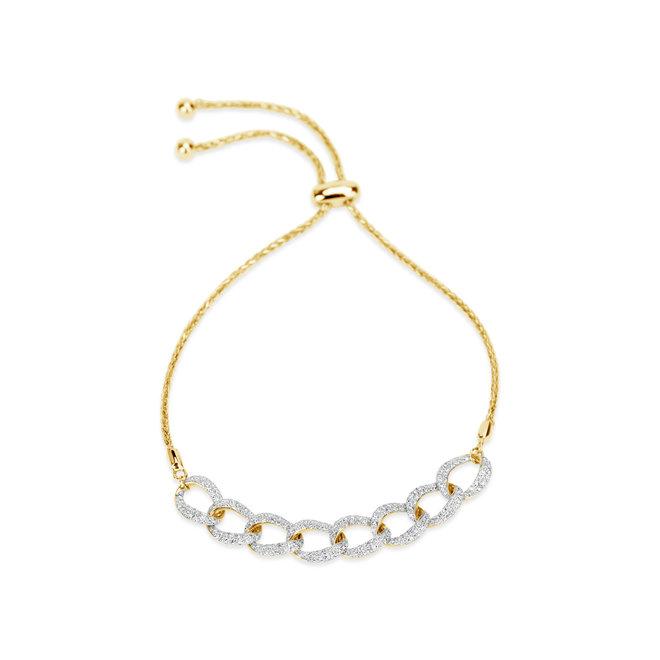 Diamond bolo link adjustable bracelet