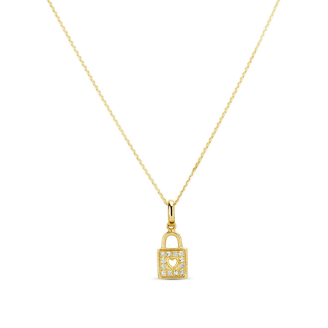 Diamond heart lock pendant