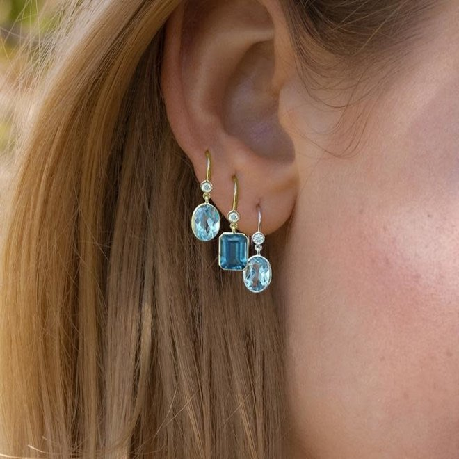 Blue topaz and diamond drop earrings - petite