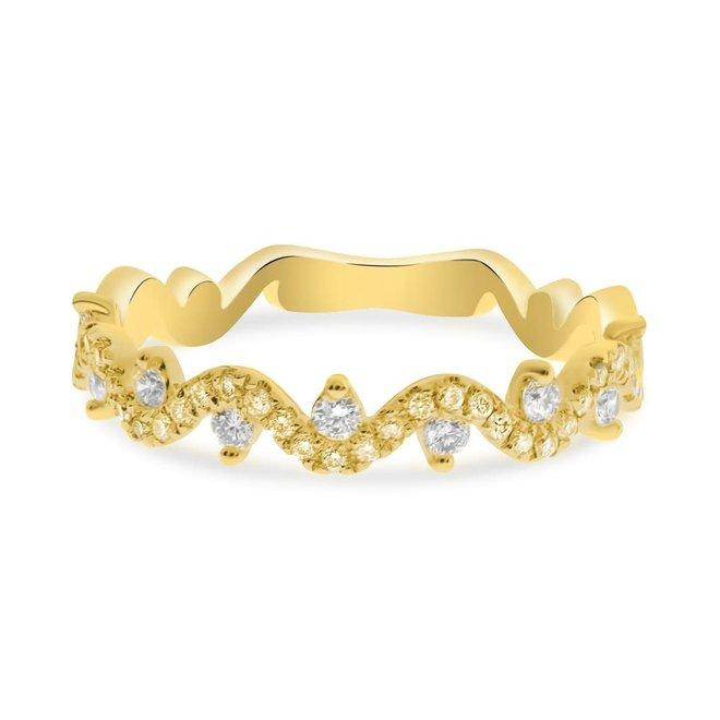 Diamond wave band-yellow gold