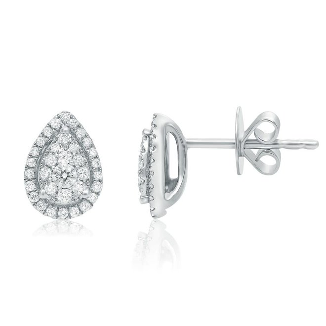 Pear shape cluster diamond stud earrings
