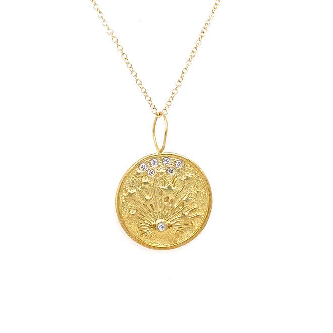 Diamond good luck charm pendant