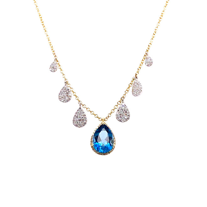 Tear drop blue topaz and diamond necklace