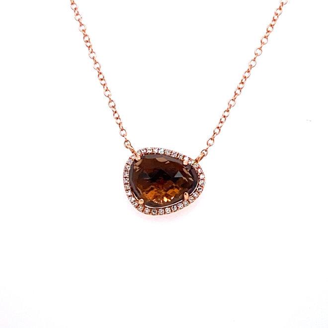 Smokey quartz and diamond halo pendant