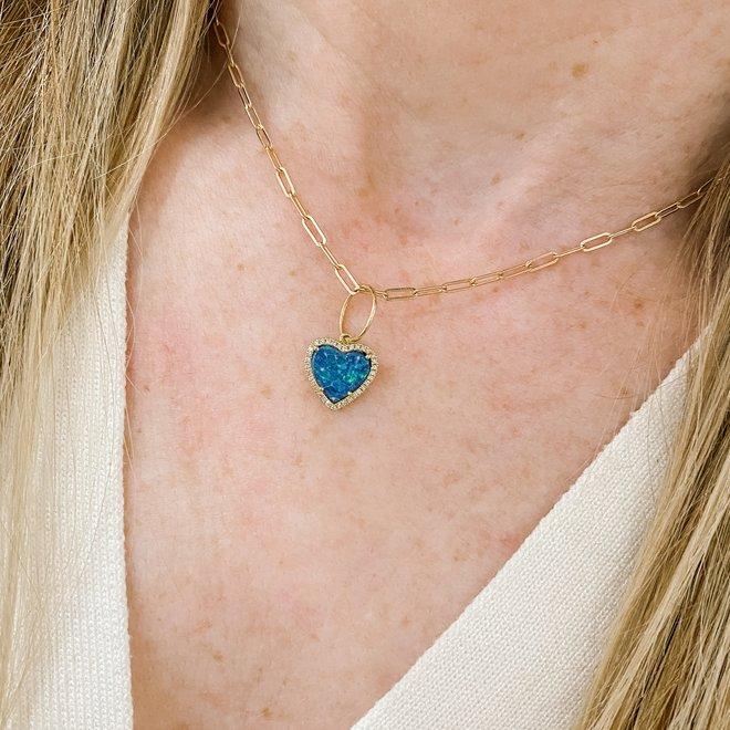 Opal and diamond heart charm