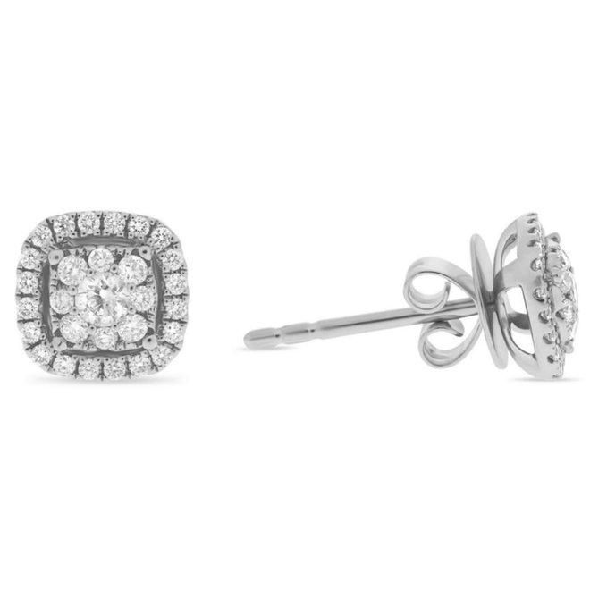 Cushion Shape Diamond Cluster Earrings