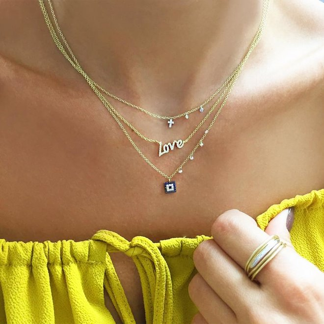 Petite diamond cross pendant