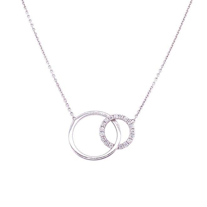 Interlocking White Gold and Diamond Circle Necklace