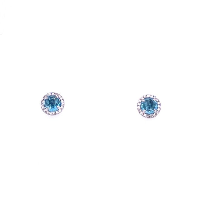 Blue topaz and diamond earrings-petite