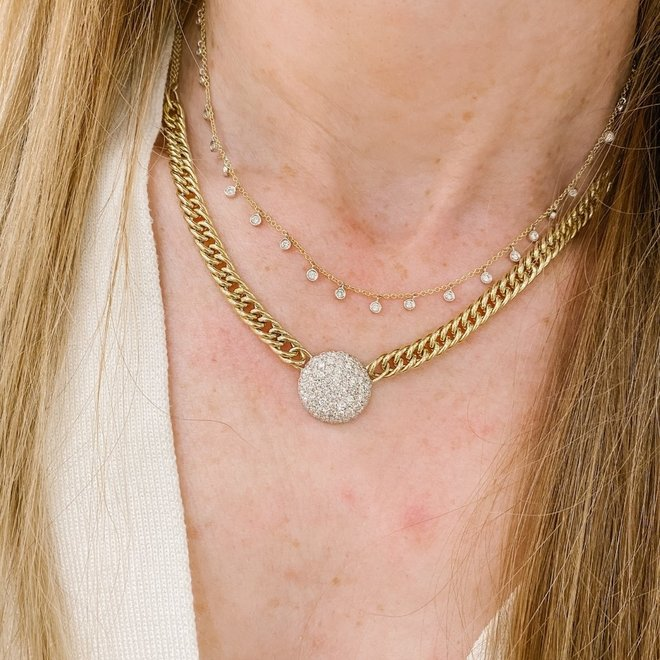 Curb link diamond disc necklace-yellow