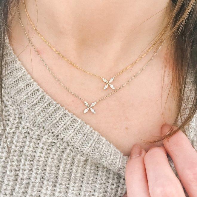 Diamond florette necklace