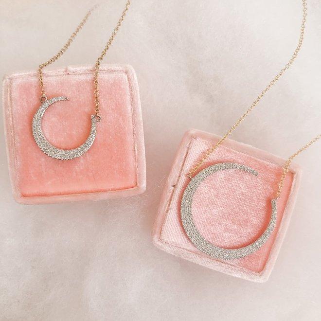 Mini Crescent Moon Diamond Pendant