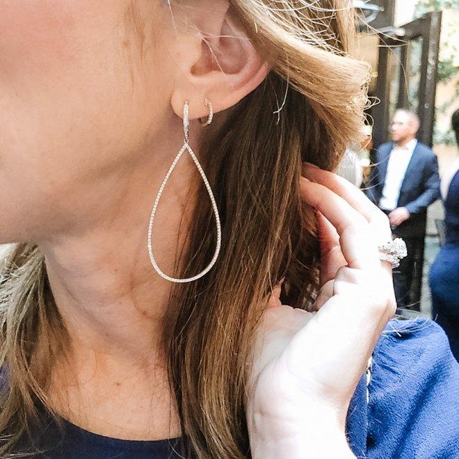 Contemporary diamond drop earrings
