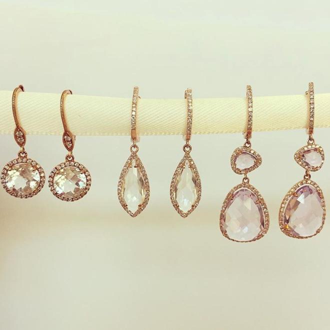 Rose gold amethyst and diamond drop earrings