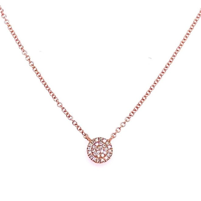 Petite Diamond disc pendant - rose gold