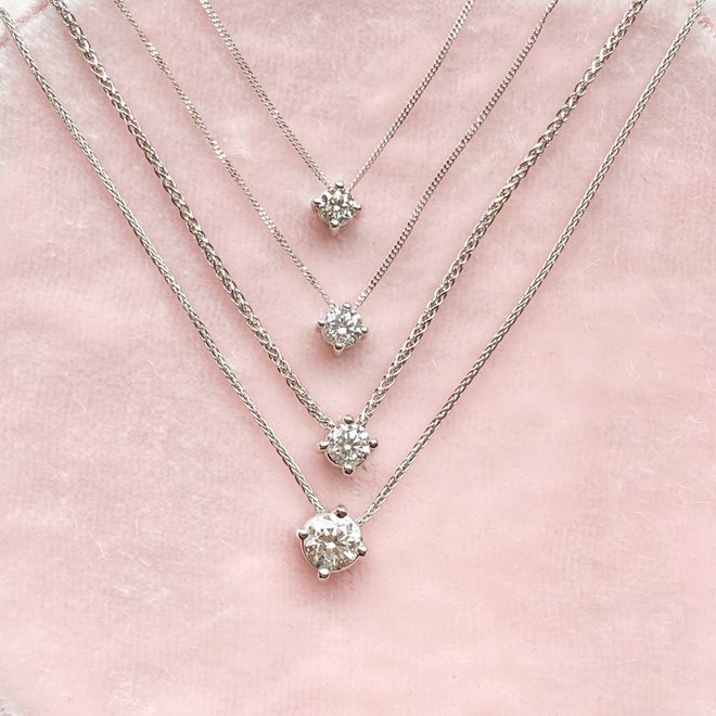 Floating diamond solitaire pendant-large