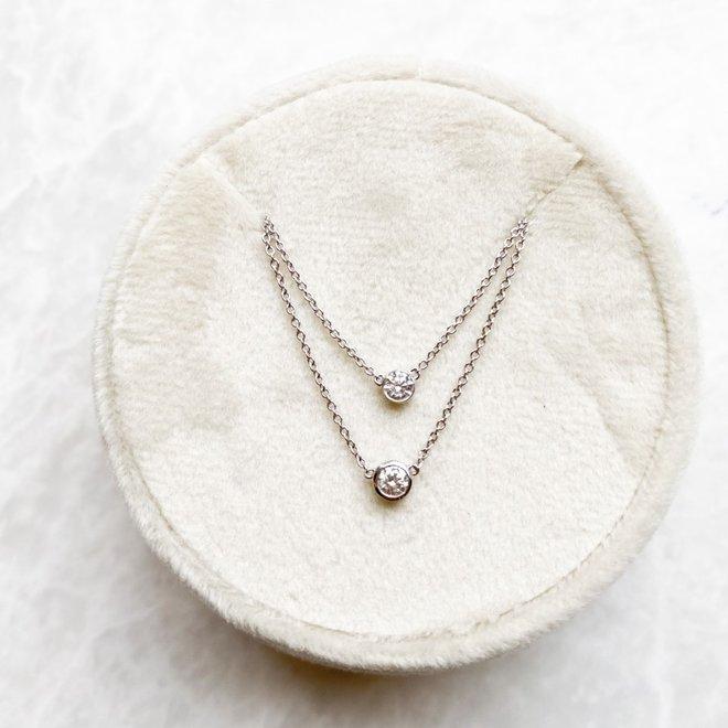 Bezel set diamond necklace-medium