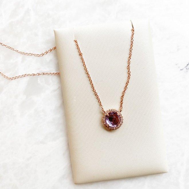 Pink amethyst and diamond pendant