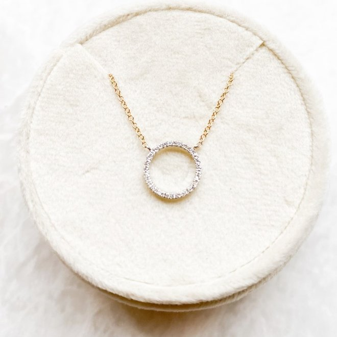 Petite Diamond Open Circle Pendant