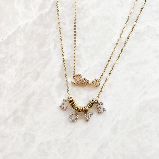 Diamond LOVE drop necklace