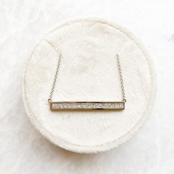Princess Cut Diamond Channel Set Pendant