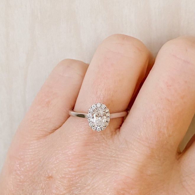 The Lily-Oval Diamond Halo Engagement Ring