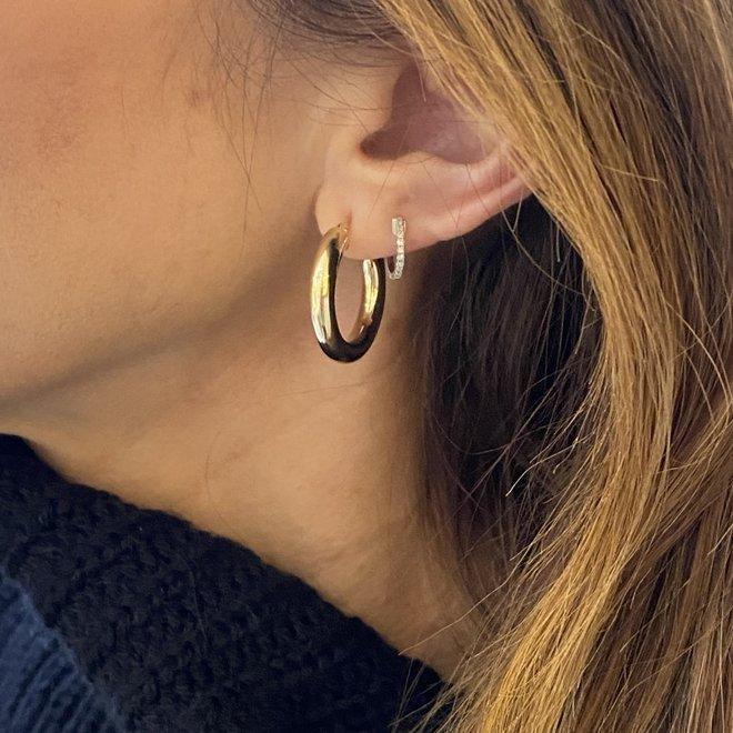 Wide Gold Hoop Earrings-Yellow Gold
