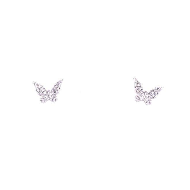 Diamond Butterfly Stud Earrings